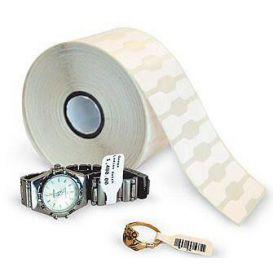 Zebra Juwelierslabels 56x13 mm, Zonder flaps, 8000D, Kern 25 mm, DT, Polypropyleen, 3510 per rol -> Per 6 rollen